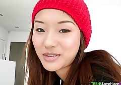 Asian teen facialized wits..