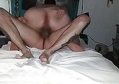 Heavy dame rides a chubby cock.